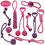 Dog Rope Toy for Aggressive Chewers,Dog Toy Set Cotton Rope for Dogs Teething Chewing Playing,Resistant to Pull and Drag (10 Pack Dog Rope Toy)