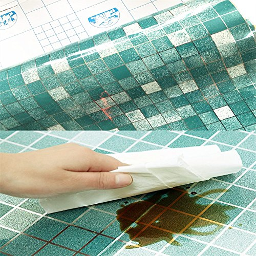 Solid Color Mosaic Self-adhensive Anti Oil Waterproof Wall Stickers Home Decor Bathroom Kitchen Backsplash Tiles 17.7''x78.7'' (Blue)