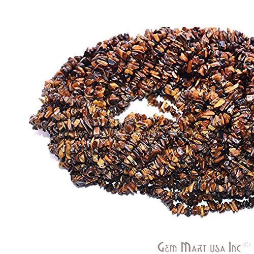 (GemmartUSA Tiger Eye Chip Beads Natural Stone Beads 1 Strand 34 Inch Jewelry Making Supplies)
