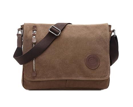 185cdba1ee9 Leegoal(TM) Casual Men s Vintage Canvas Schoolbag Shoulder Messenger Bag,  Coffee  Amazon.ca  Luggage   Bags