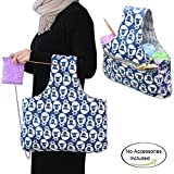 Teamoy Knitting Tote Bag(L16.5''×H9''),Travel Canvas Project Wrist Bag for knitting Needles(14inches), Yarn and Crochet Supplies, Lightweight, Perfect Size for Knitting on The Go(Large, Sheep)