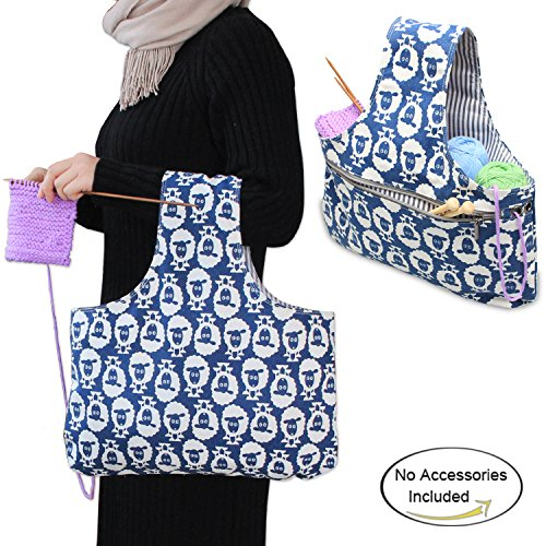 Teamoy Knitting Tote Bag(L16.5''×H9''),Travel Canvas Project Wrist Bag for knitting Needles(14inches), Yarn and Crochet Supplies, Lightweight, Perfect Size for Knitting on The Go(Large, Sheep) by Teamoy