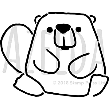 A4 Cute Beaver Wall Stencil Template Ws00023407 Amazon Co Uk