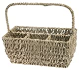 Boston International Flatware Basket Caddy with Handle, Seagrass
