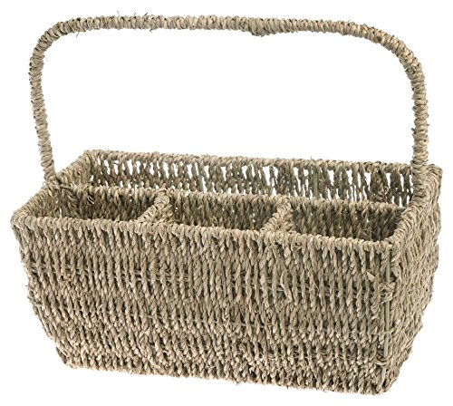 Boston International DP15002 Flatware Basket Caddy with Handle, Seagrass