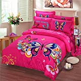 TheFit Paisley Textile Bedding for Adult U654 Love Pink Butterfly Boho Duvet Cover Set 100% Cotton, Queen King Set, 4 Pieces (Queen)