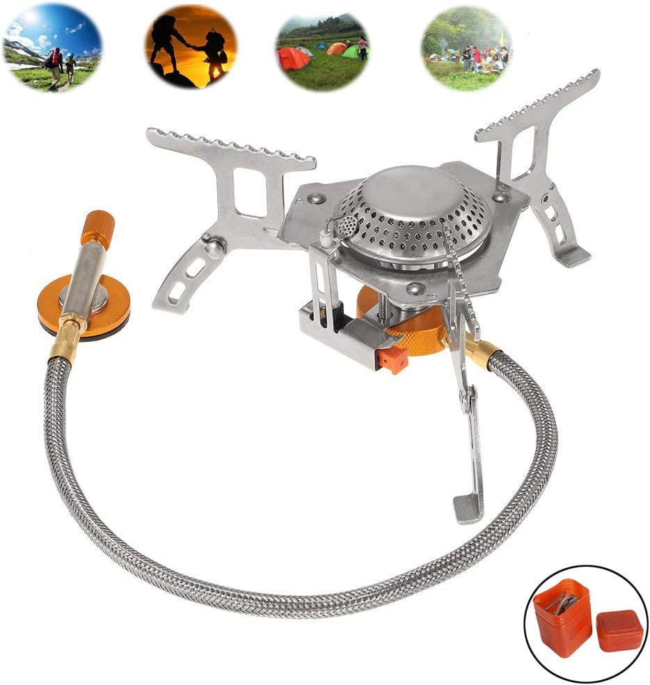 Folding Mini Camping Stove for Outdoor Cooking,Backpacking Portable Burner with Carrying Case