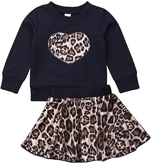 US Toddler Kid Baby Girl Valentine Clothes Romper Top Flared Pants Skirt Outfits