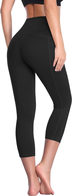 Cadmus Womens High Waist Workout Legging Capris for Yoga w Side Pockets
