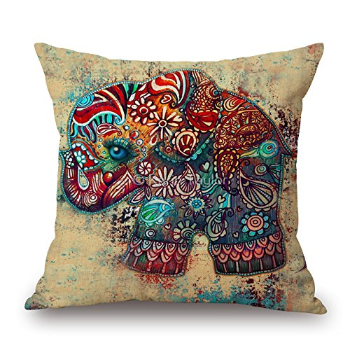 18 X 18 Inch Colorful Elephant Decorative Throw Pillow Case Home Decor Cushion Cover