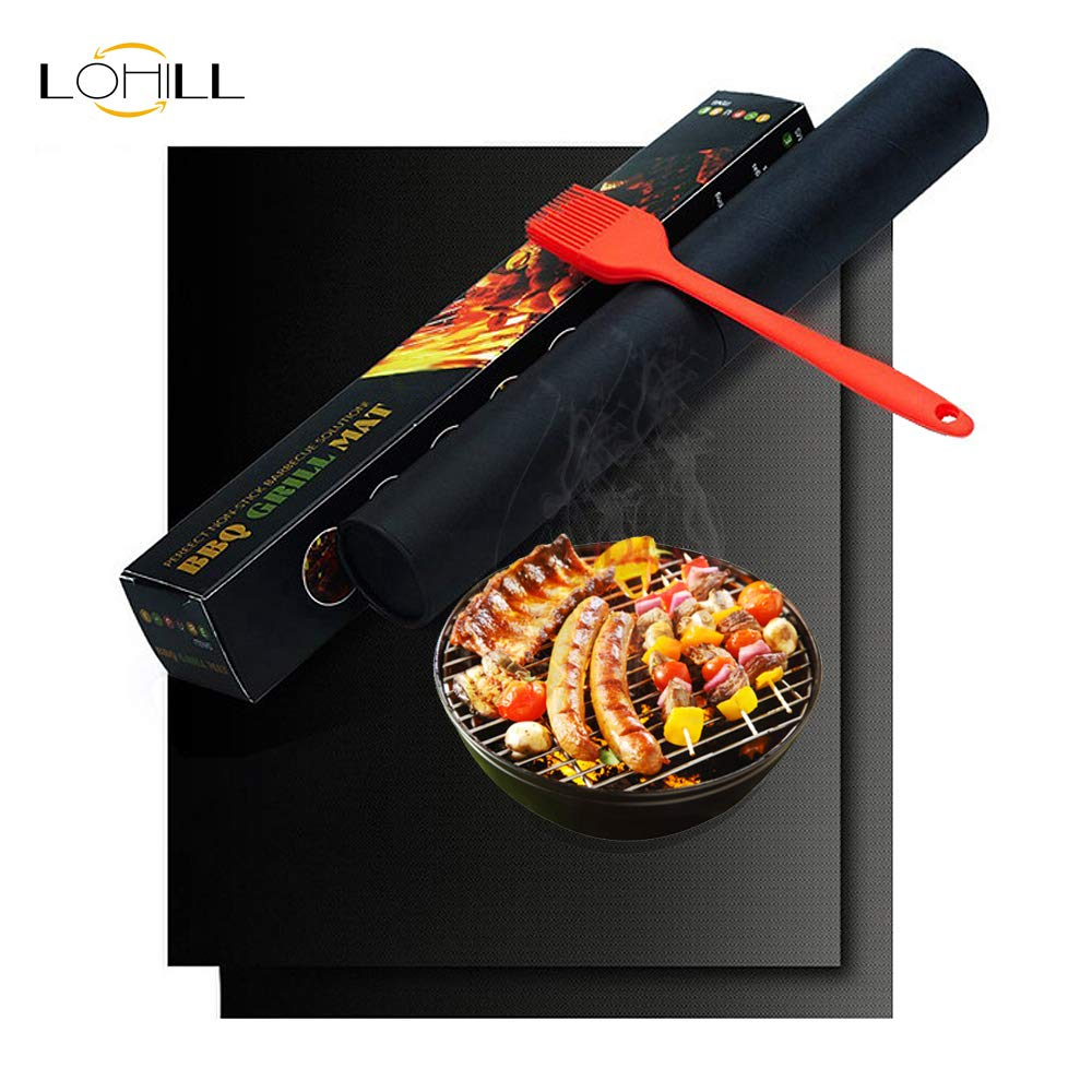 lohill BBQ Grill Mat Set of 2,Reusable Barbecue Mats,100 Non Stick Grill Mats,FDA-Approved BBQ Grilling Accessories