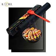 lohill BBQ Grill Mat Set of 2,Reusable Barbecue Mats,100% Non Stick Grill Mats,FDA-Approved BBQ Grilling Accessories
