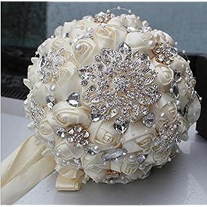 YOYOYU Ivory Cream Brooch Bouquet Mariage Polyester Wedding Bouquets Bridal Novia Pearl Flowers Wreaths Wedding Rhinestone Flower Ornament Bride Holding Flowers PL001 71