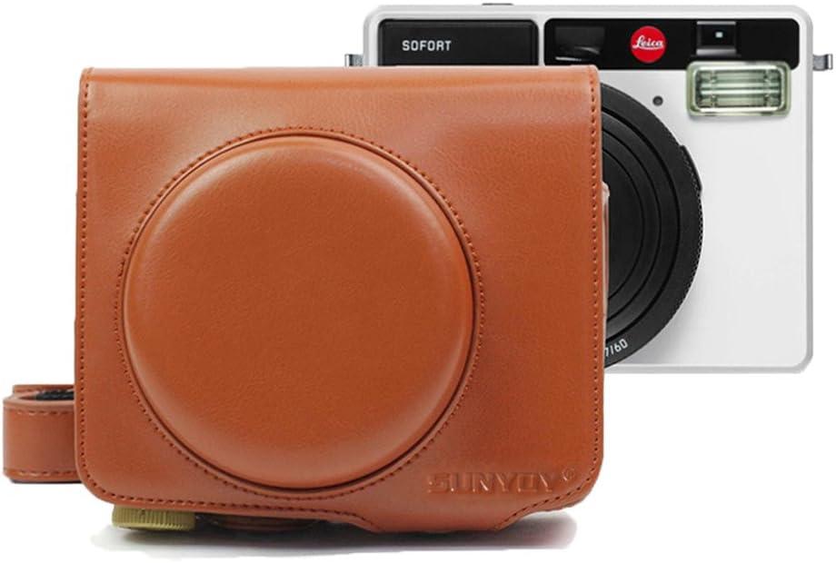 Marrone SUNYOY Custodia in pelle PU con tracolla per fotocamera istantanea Leica Sofort