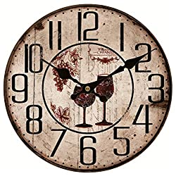 Upuptop Country Style Vintage Round Wall Clock Home Decor Two Cup of Red Wine Bid Numbers 16