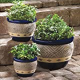 Gifts & Decor Cobalt Planter Ceramic Garden Plant Flower Pot Set, 3-Piece