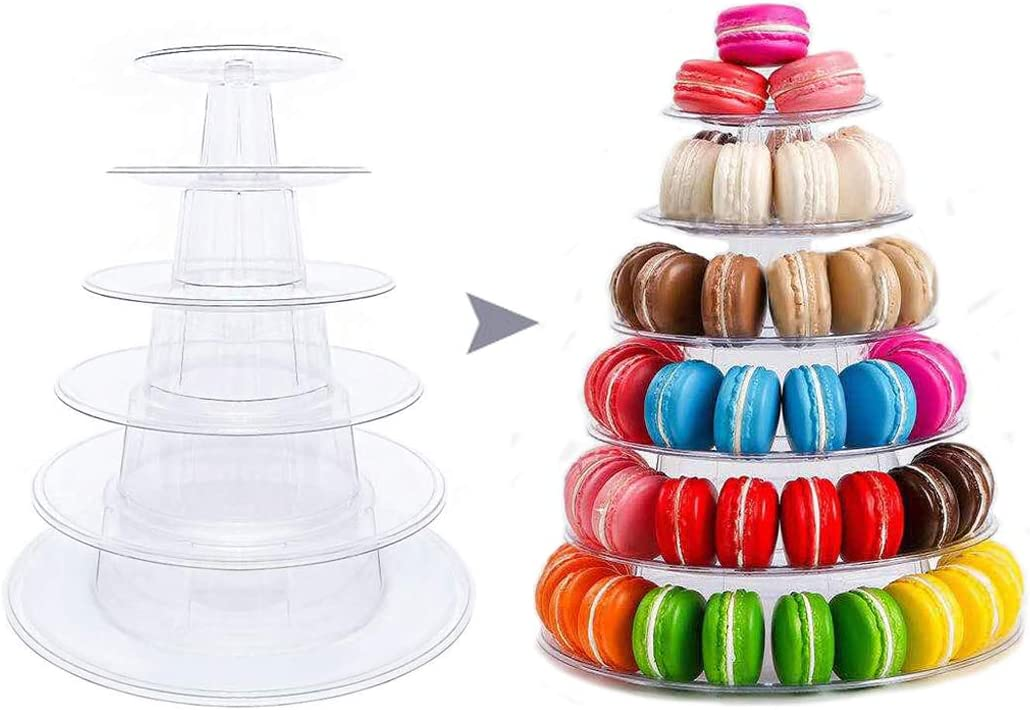Set 1 Round Macaron Tower Stand 6 Tiers Cupcake Holder Stand Cake Display Rack Adjustable Tiers for Wedding Birthday Party Decor