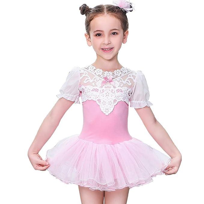 84ba2df1a Amazon.com  Girls  Short Sleeve TUTU Skirt practice Dance Leotard ...