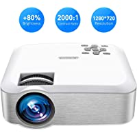 Mpow Projector, Mini Projector with 1080P Supported Portable Projector 3600 Lumens ±45° Vertical Keystone Correction Multimedia Movie Gaming Home Cinema LED Video Projector with Tripod Compatible with HDMI/VGA/USB/PC/iPhone/Smartphone/PS3/PS4 etc