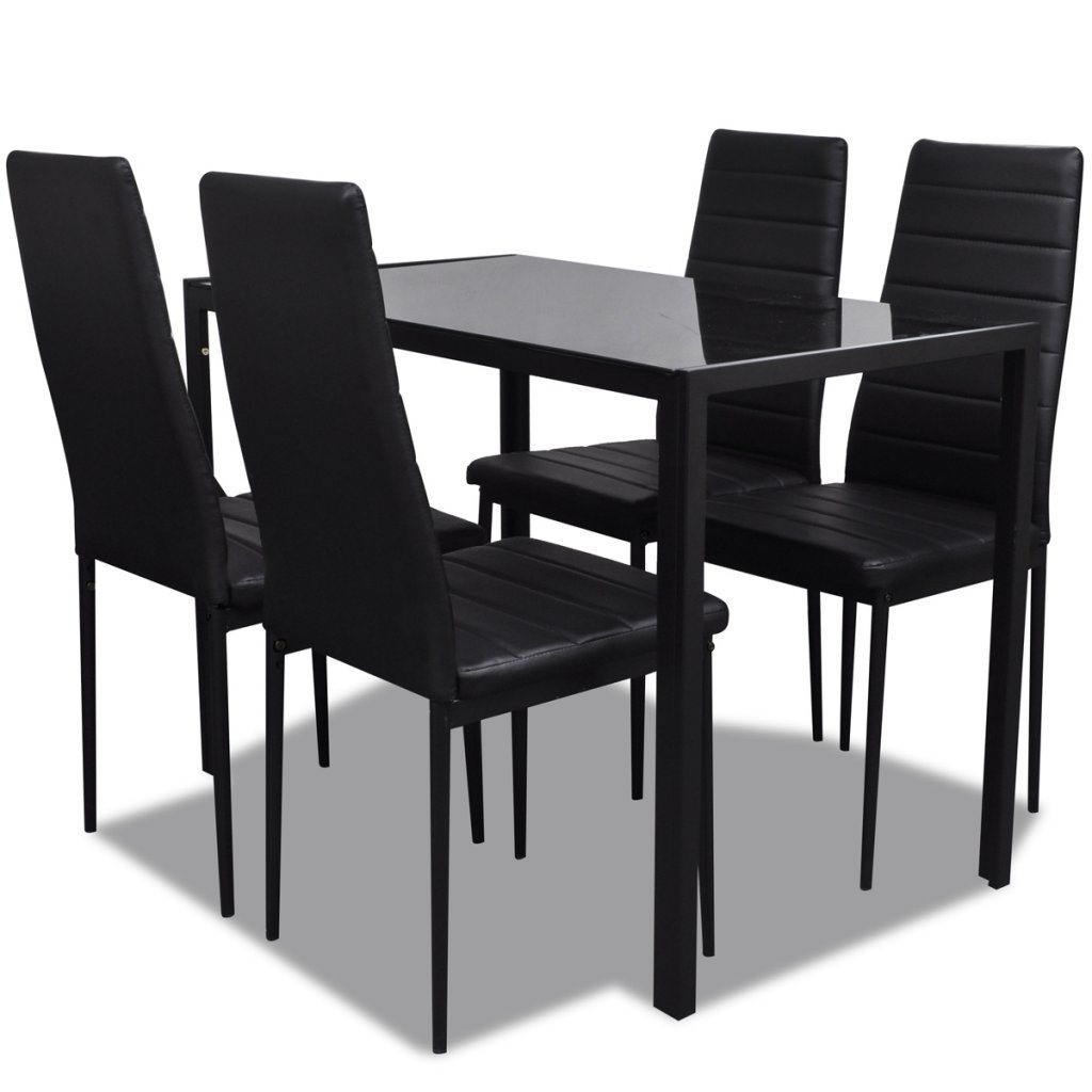 Festnight Ensemble Table Verre à Manger et 4 chaises Cuir de Salle à Manger de Confort Restaurant Noir
