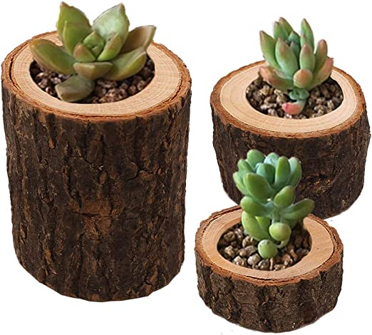 Set of 3 Astra Gourmet Natural Pine Wood Candle Holder//Wooden Tea Light Candle Holders//Succulent Planter for for Rustic Wedding Holiday Decoration Party Birthday