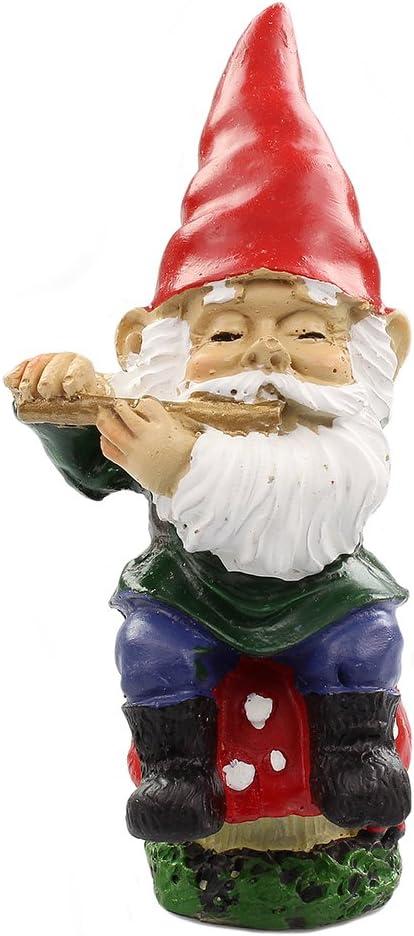 Jardín de hadas gnomo de suministros – Figura de gnomo sentado en miniatura – Flauta de jugar: Amazon.es: Jardín