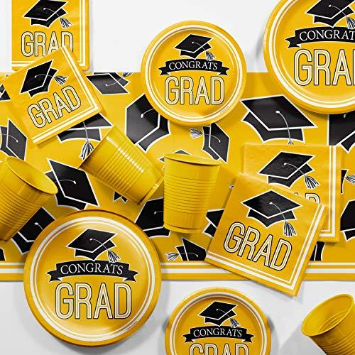 (Graduation School Spirit Yellow Party Supplies Kit, Serves 36)