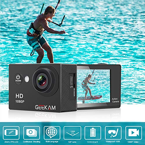 GeeKam Kids Action Camera 1080P Waterproof Sports Camera Kids Toy for Boy Girls Holiday Birthday Gift with 2.0 inch LCD Screen and Mounting Accessories Kit(Black) by GeeKam (Image #1)