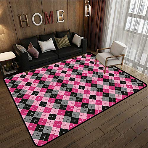 Bathroom Rugs,Abstract,Argyle Motif with Diamonds and Lozenges Infinite Symmetric Stripes Image,Baby Pink Black Grey 78.7