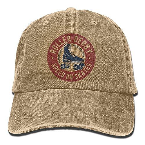 Wons Adult Roller Derby Cotton Washed Denim Travel Hats Adjustable (Golf Travel Roller)