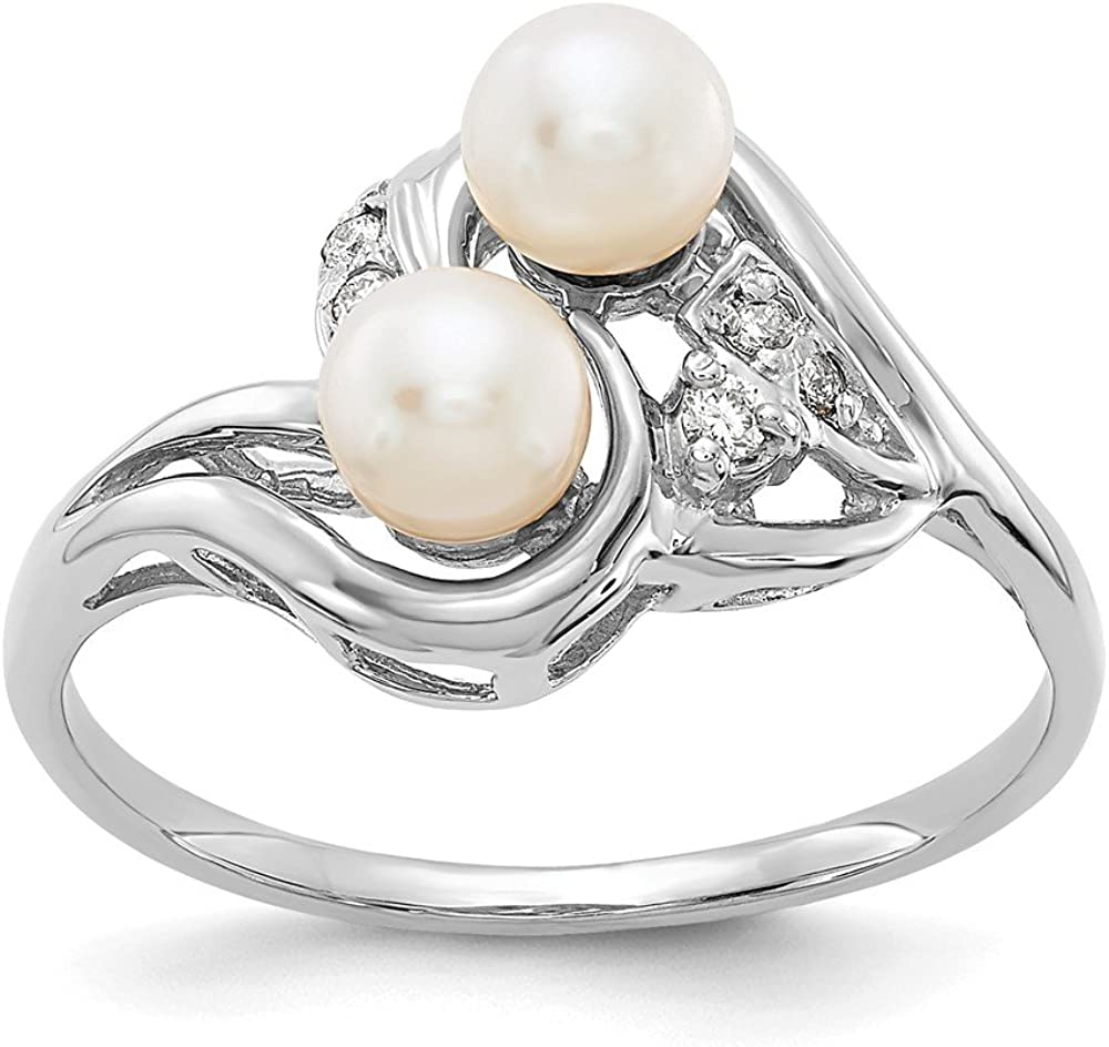 I2 clarity, I-J color Jewelry Adviser Rings 14k White Gold 4.5mm FW Cultured Pearl A Diamond ring Diamond quality A