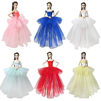 432de5c03883c BARWA Lot 7 Pcs Doll Dresses Handmade Fashion Wedding Party Ball Gown Lace  Dresses Outfits for Barbie Doll Clothes Birthday (Lot 6 pcs Dresses)