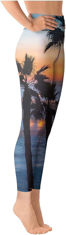 Girl Yoga Pants Beach Hawaii Wave Coast Palm Trees Sun Tummy Hips Yoga Leggings with Pockets