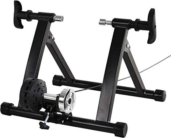 HOMCOM Rodillo de Bicicleta con Resistencia de 8 Niveles Entrenamiento Doméstico Entrenador de Bicicleta Ejercicio Plegable Acero 120kg Negro