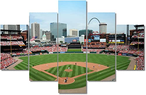Framed Sports Art MLB Saint Louis Cardinals Pictures Busch Stadium Painting 5 Pcs/Multi Panel Canvas Wall Modern Artwork Home Decor