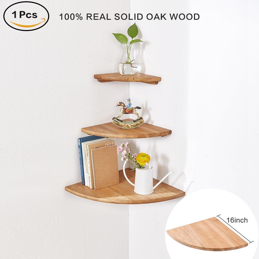 "INMAN Wooden Corner Shelf, 1 Pcs Round End Hanging Wall Mount Floating Shelves Storage Shelving Table Bookshelf Drawers Display Racks Bedroom Office Home Décor Accents (Oak, 16"")"