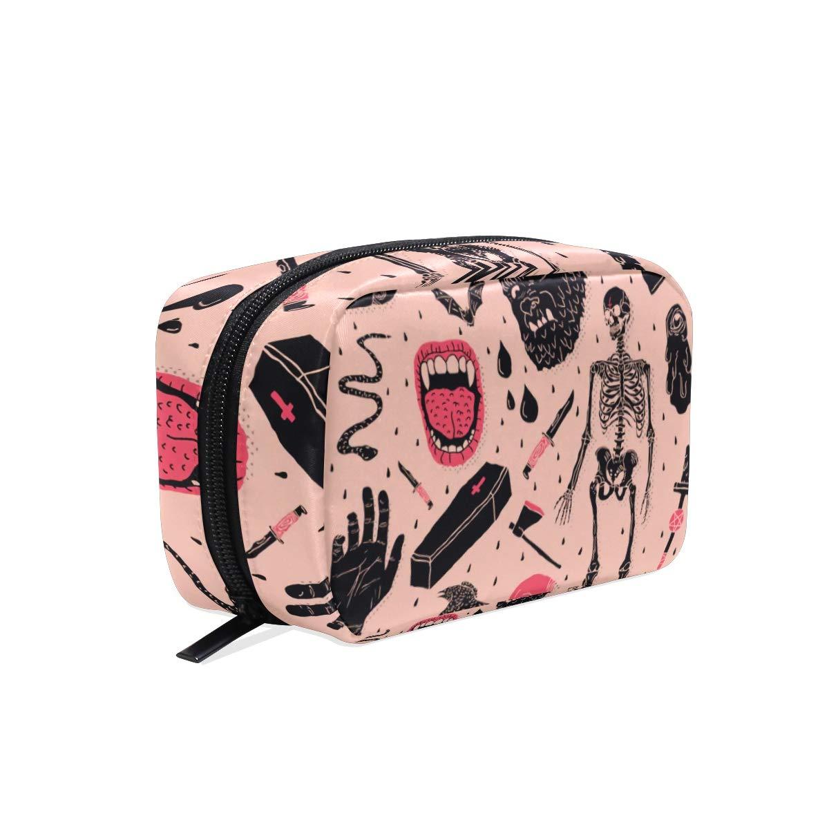 Cosmetic Makeup Bag Pouch Halloween Horror Skull Clutch