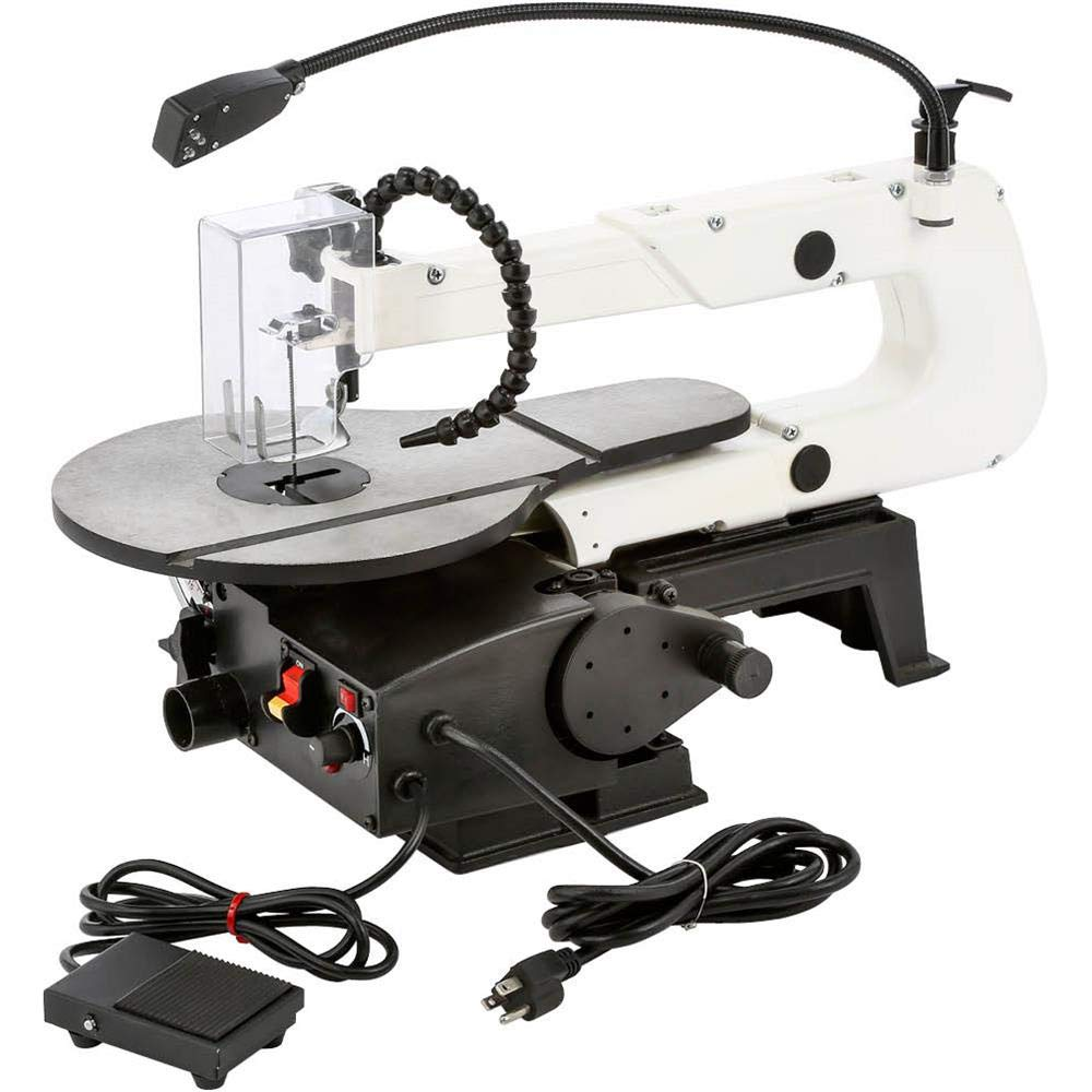 Shop Fox W1872 16'' VS Scroll Saw with Foot Switch, LED, Miter Gauge, Rotary Shaft by Shop Fox