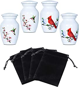ICOKEE Small White Keepsake Urns for Human Ashes or Pet Ashes, Set of 4 (2 Hummingbird and 2 Cardinal), Hard Metal Cremation Urns, Mini Funeral Urns, with 4 Velvet Bags