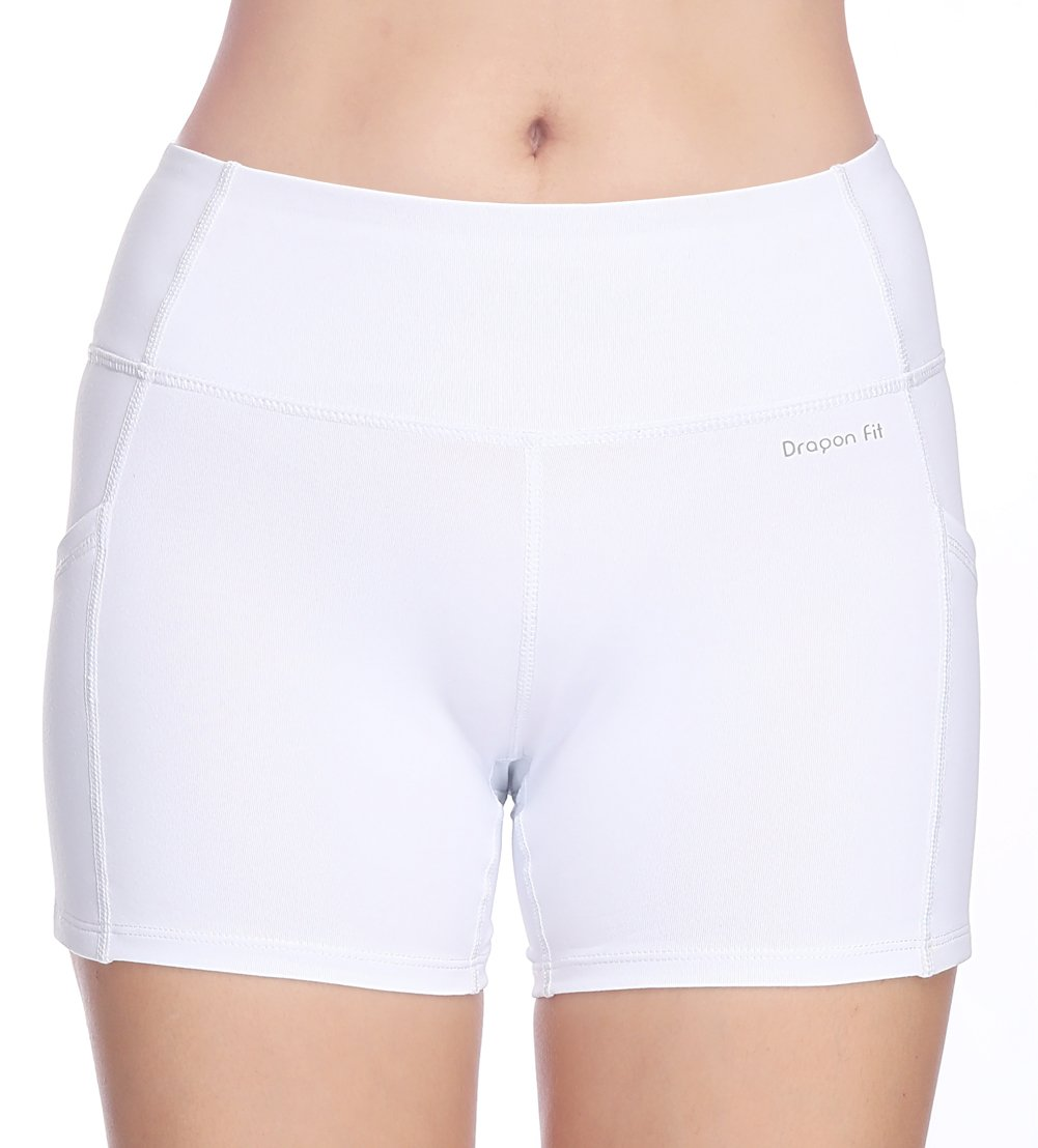 Dragon Fit Tummy Control Yoga Shorts High Waist Out Pockets Power Flex Workout Running Yoga Shorts 4 Way Stretch(Large, pockets-shorts15-white) by Dragon Fit (Image #4)