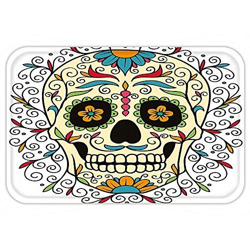 La Calavera Catrina Halloween Costume (Kisscase Custom Door MatSugar Skull Decor Catrina Calavera Featured Figure OrnamentMacabre Remember the Dead Multicolor)