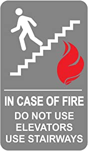 "in Case of Fire Do Not Use Elevators Use Stairway Sign for Public Safety, Meet Fire Safety Codes, 12 inches x 8 inches 0.06"" Heavy Duty Commercial Plastic, Indoor/Outdoor (No Mounting Holes)"