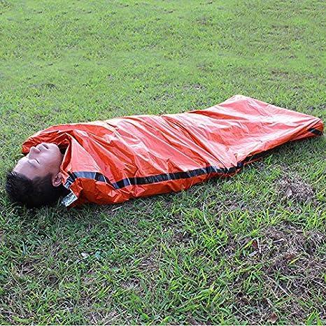 Sacos de dormir al aire libre portátil de emergencia bolsas de dormir ligero saco de dormir de polietileno para Camping viaje senderismo: Amazon.es: ...