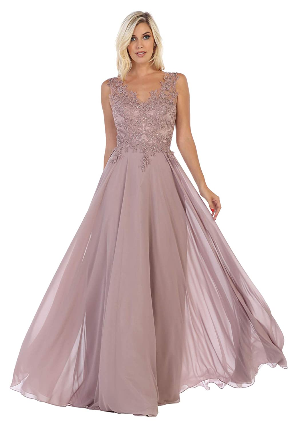 Mauve Formal Dress Shops Inc FDS1610 Prom Flowy Designer Formal Dress