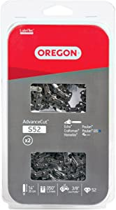 Oregon S52 AdvanceCut Chainsaw Chain for 14-Inch Bars, Fits Craftsman, Echo, Homelite, Poulan, 52 Drive Links, 2-Pack