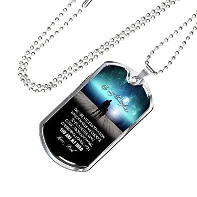 Amazon com: AZ Family Gift To My Daughter Dog Tag Necklace