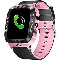 Bluetooth Smartwatch Touch Screen Wrist Watch with Camera/SIM Waterproof Phone Smart Watch Sports Fitness Tracker Girls Boys Smart Watches with Children's Smart Wrist Kids Gifts Learnin (Black Pink)