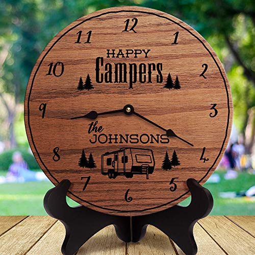 AndCo 12 Inch Wood Clock, Camper Decor Happy Campers Custom Last Name Family Name RV Decor Camper Trailer Towable RV Camper Dinghy Towed, Clock Only, Wall Clock