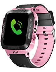 Bluetooth Smartwatch Touch Screen Wrist Watch with Camera/SIM Waterproof Phone Smart Watch Sports Fitness Tracker Girls Boys Smart Watches with Children's Smart Wrist Kids Gifts Learnin (Black Pink)
