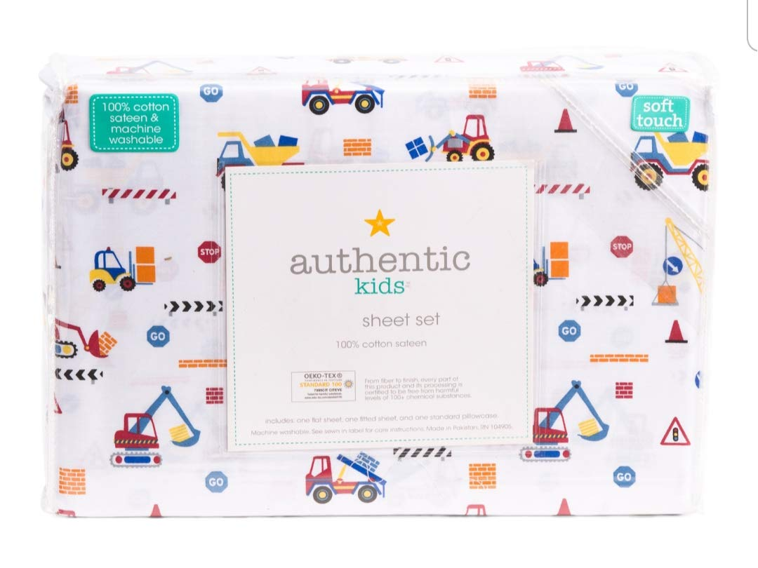 Authentic Kids 4 Piece Double Bed Full Cotton Sheet Set Construction Trucks Hoes Tractors Red Blue Yellow White (Full)
